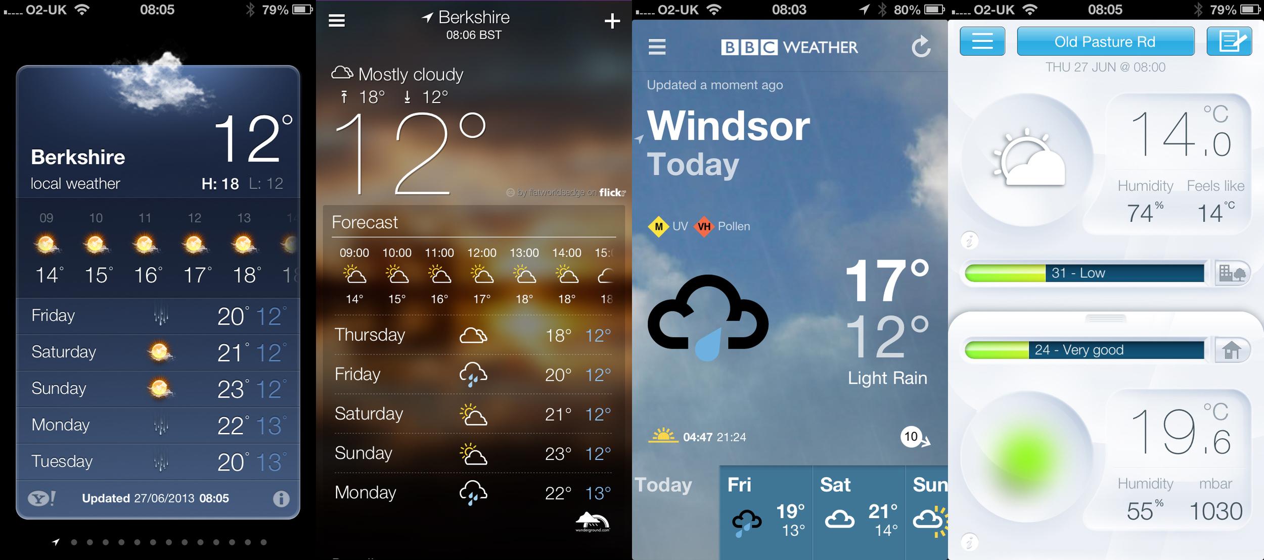 (left to right) Apple Weather, Yahoo Weather, BBC Weather, Netatmo