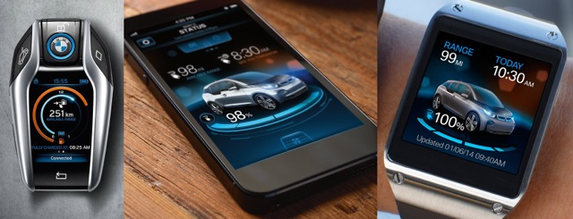 Consistency of digital brand: BMW UI from key to smartphone to smartwatch.