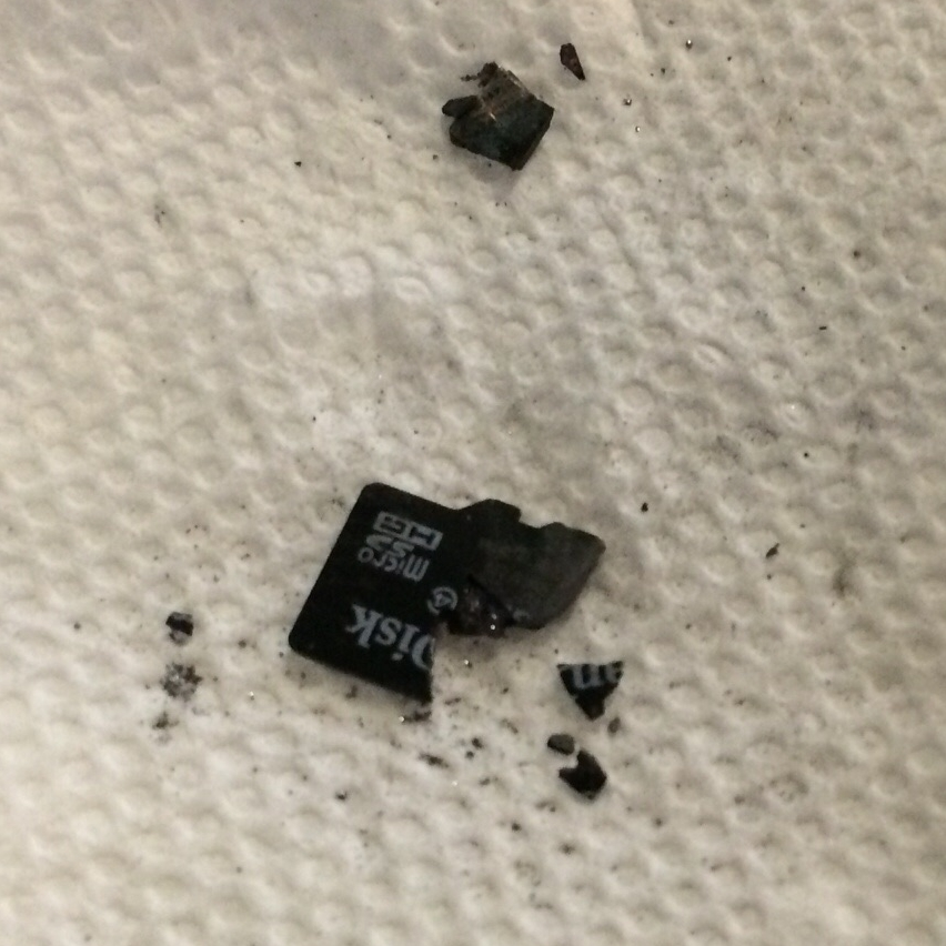 The remains of the microSD card.