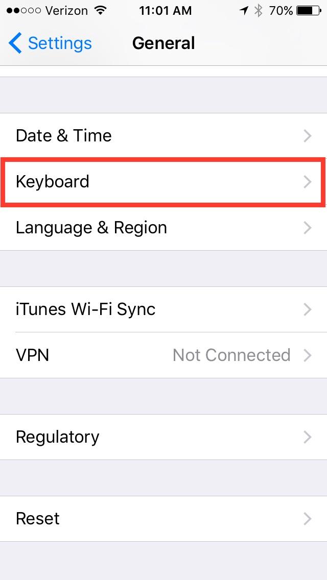 iOS General settings screen, with Keyboard menu highlighted