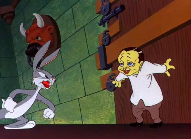 Peter Lorre and Bugs Bunny. From  Hair-Raising Hare  (dir. Chuck Jones, Warner Bros., 1946)