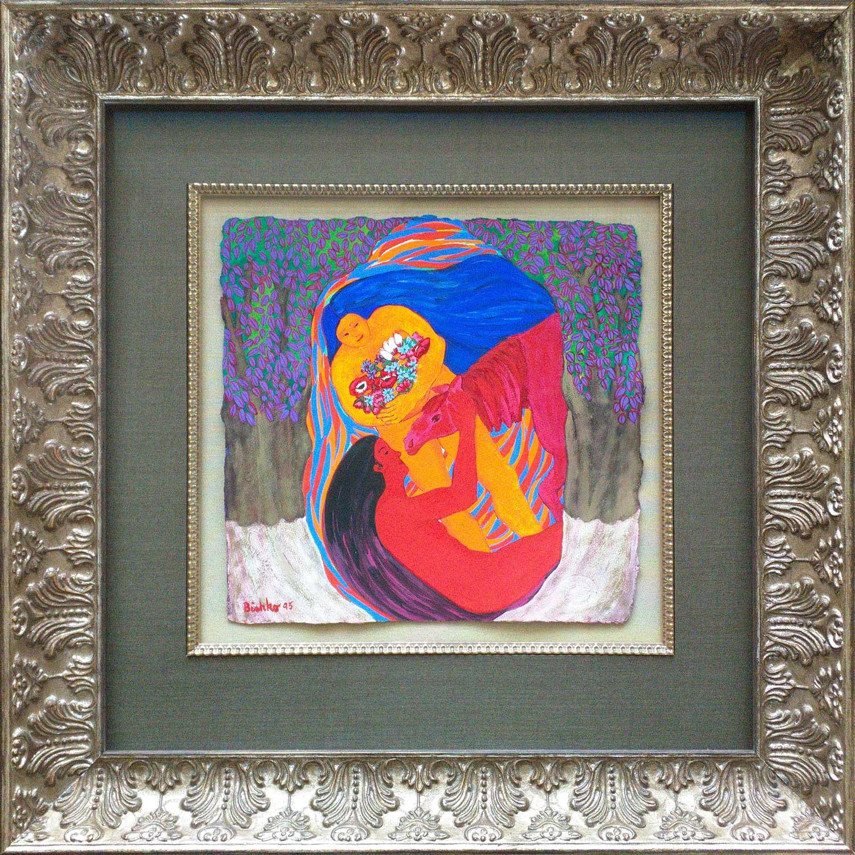Original gouache on Paper by Grace Bishko, Framing by High Desert Frameworks, Bend Oregon