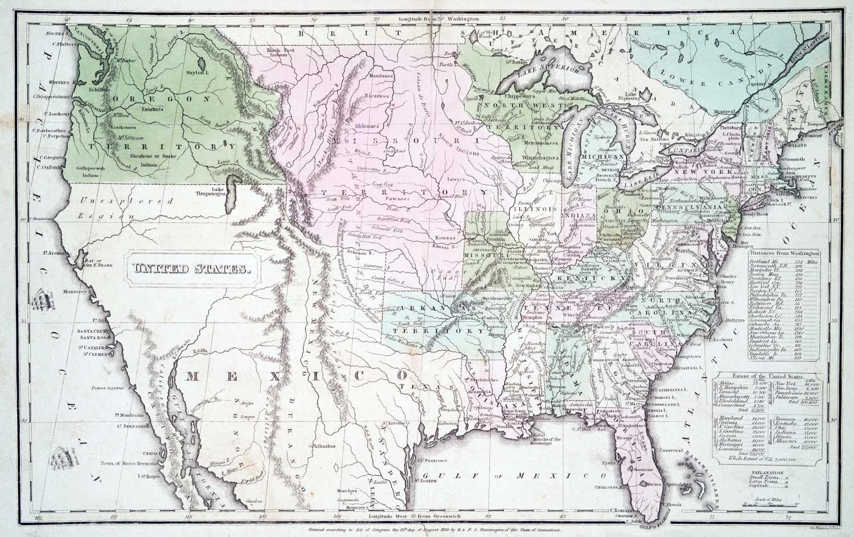 Historic US Map (1830)printed and framed at High Desert Frameworks