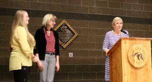 SOQS Board members Myrna Dow & Carol Dixon award 2017 Scholarship to Laura Waltosz