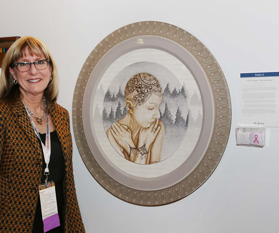 Myrna Dow, High Desert Frameworks, Inc Bend Oregon - 2019 Tru Vue Best in Show: Attendees' Choice award. West Coast Art and Frame Expo, January 2019 Las Vegas NV. Photo Credit, Mark Wallenfang 2019.