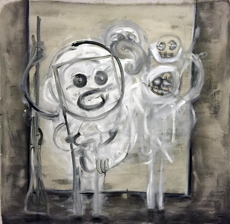 "latex & oil on cotton canvas drop cloth, 54""x 54""  (white man posing with gun)"