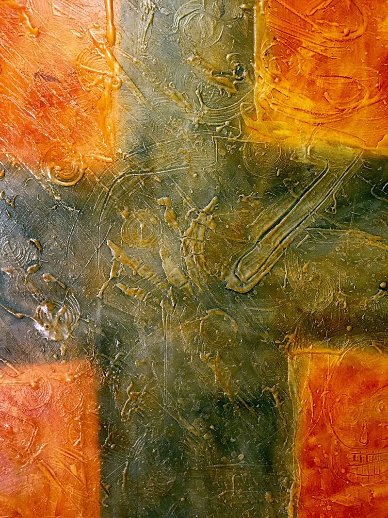 "oil on canvas 47"" X 47"""