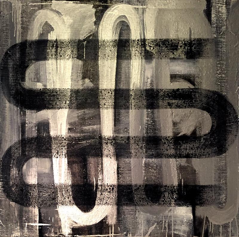 "enamel & oil on canvas 47"" X 47"""