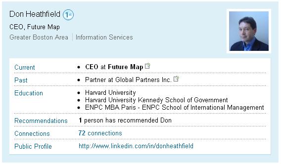 LinkedIn.com profile of Donald Howard Heathfield, clear name: Andrey Bezrukov or Андрей Безруков.