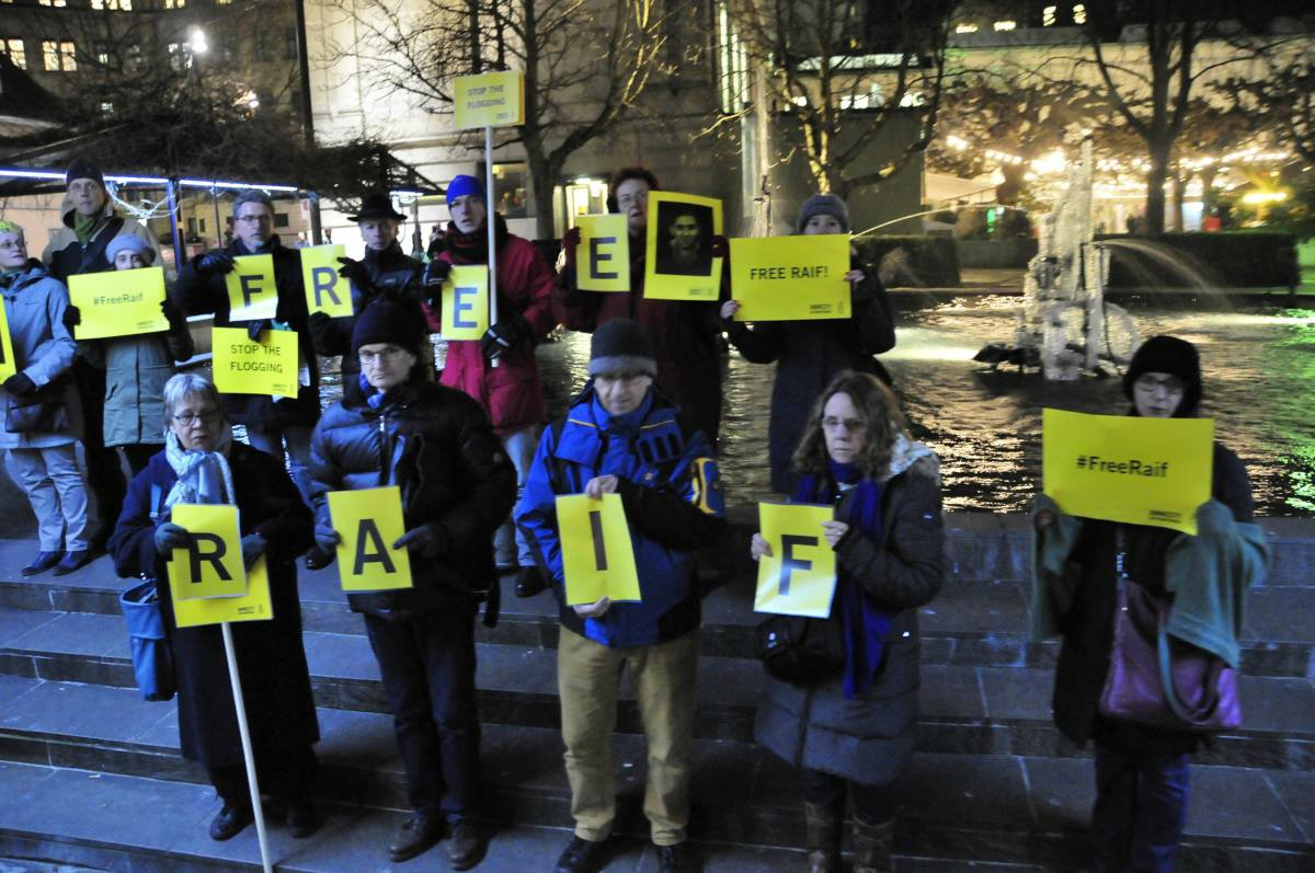 Free Raif Badawi demo by Amnesty International Basel 05 February 2015