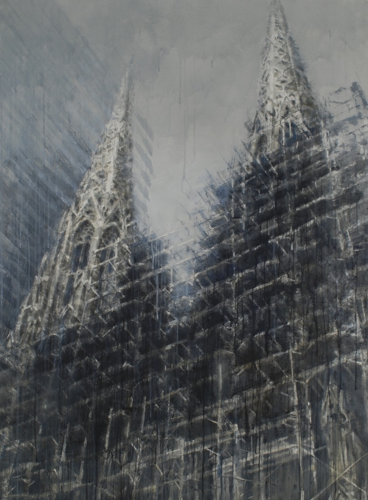 Saint Patricks Cathedral by   Chizuru Morii Kaplan  , part of MUSE, NY On Paper exhibiit by The Villa America and Anderson Contemporary