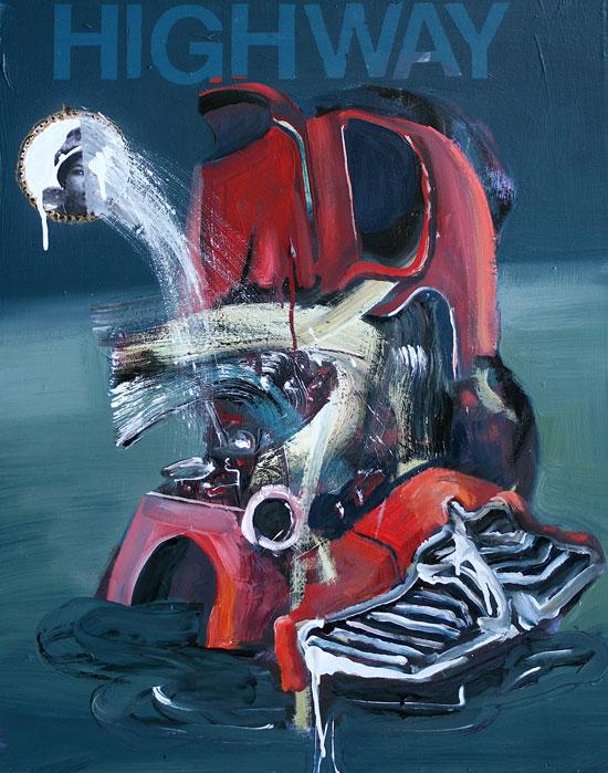 Highway XX**, 2009, 30 x 24 ins, acrylics, oils, enamels on canvas.