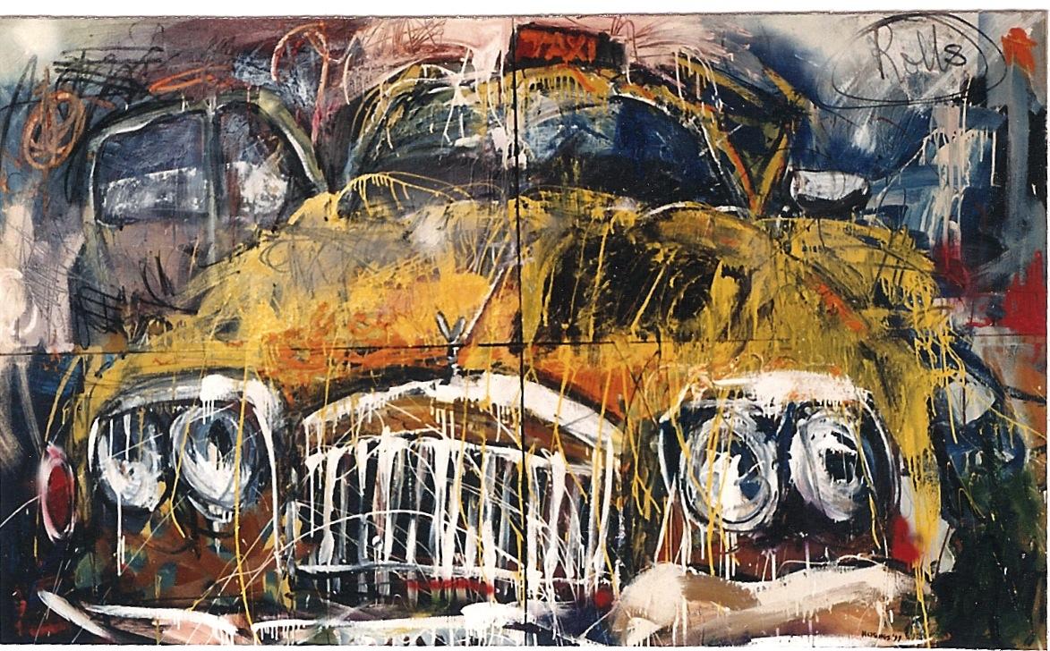 Rolls, 1999, 60 x 90 ins, acrylics, oils, enamels on canvas.