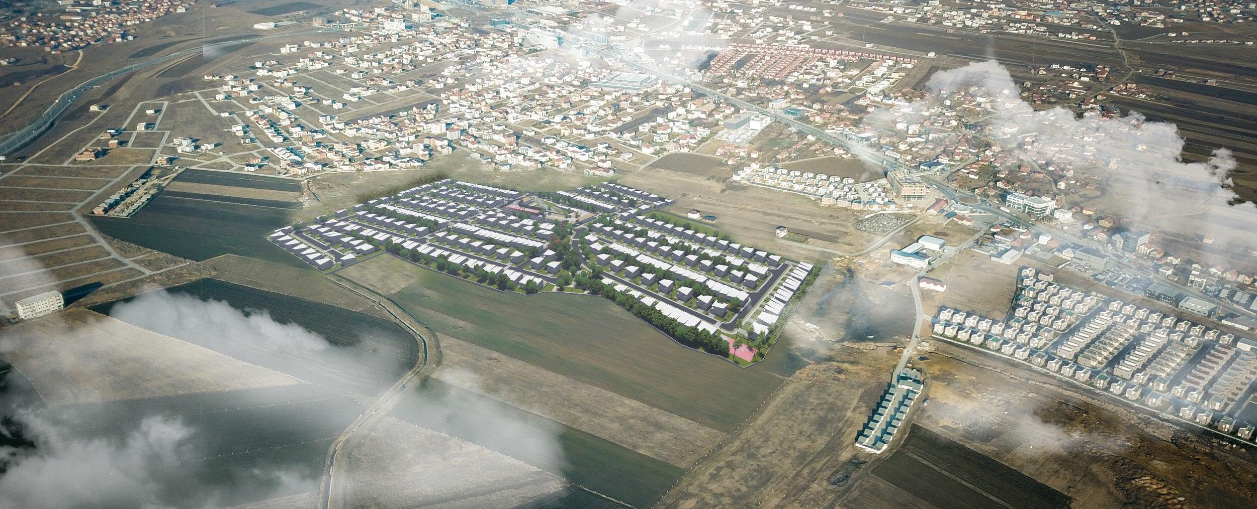 Pamje nga lart të lagjes 300 në kontekst më të gjerë të lokacionit