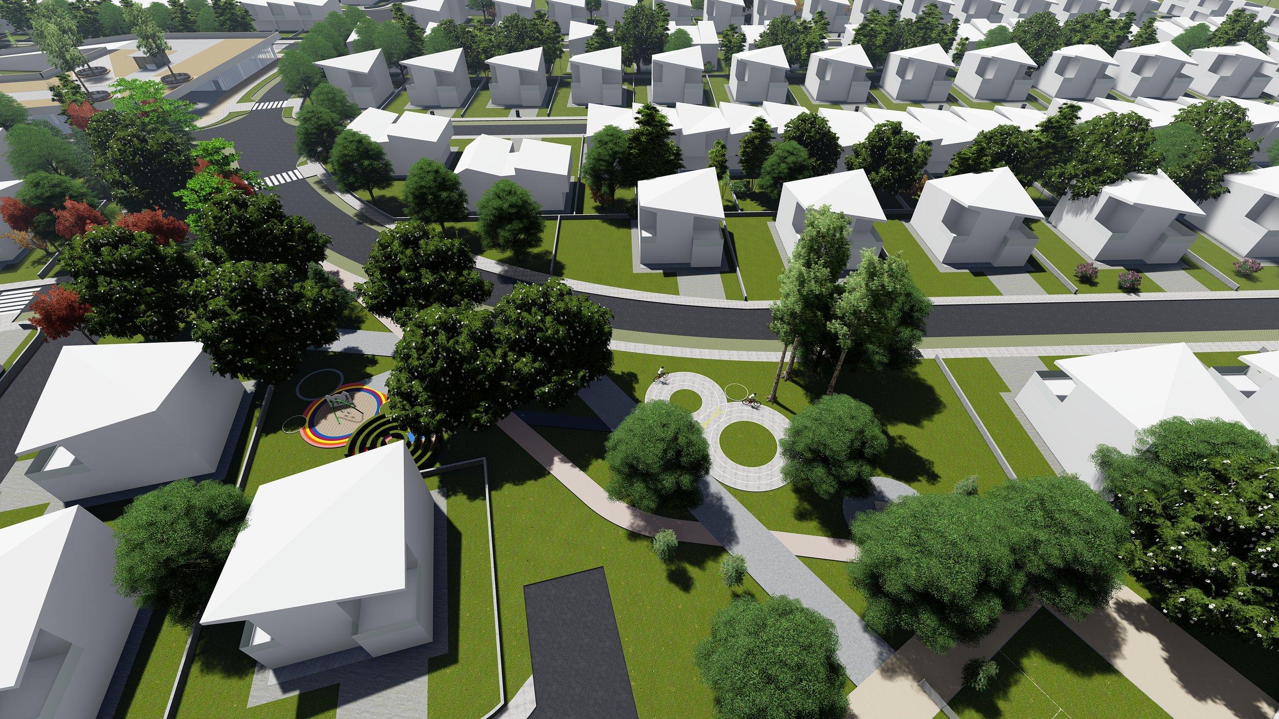 Zgjidhja skematike e shtëpive dhe parku ndërmjet 2 zonave të banimit