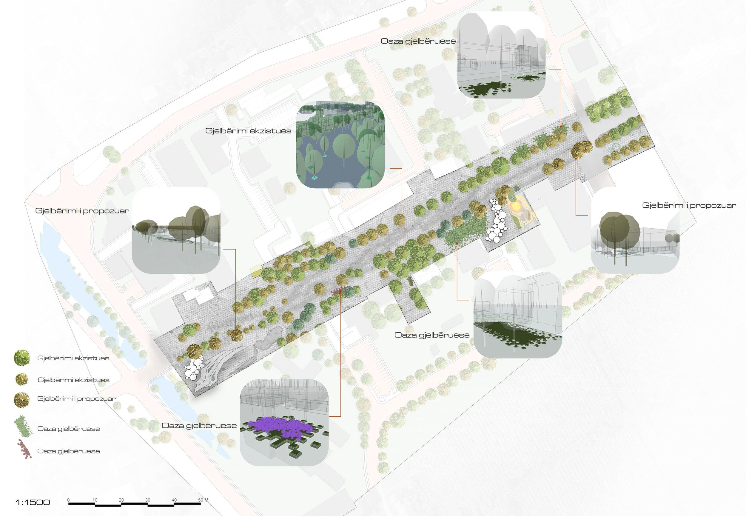 Gjelbrimi Ekzistues dhe i Propozuar duke përfshirë edhe Oazat e gjelbërimit