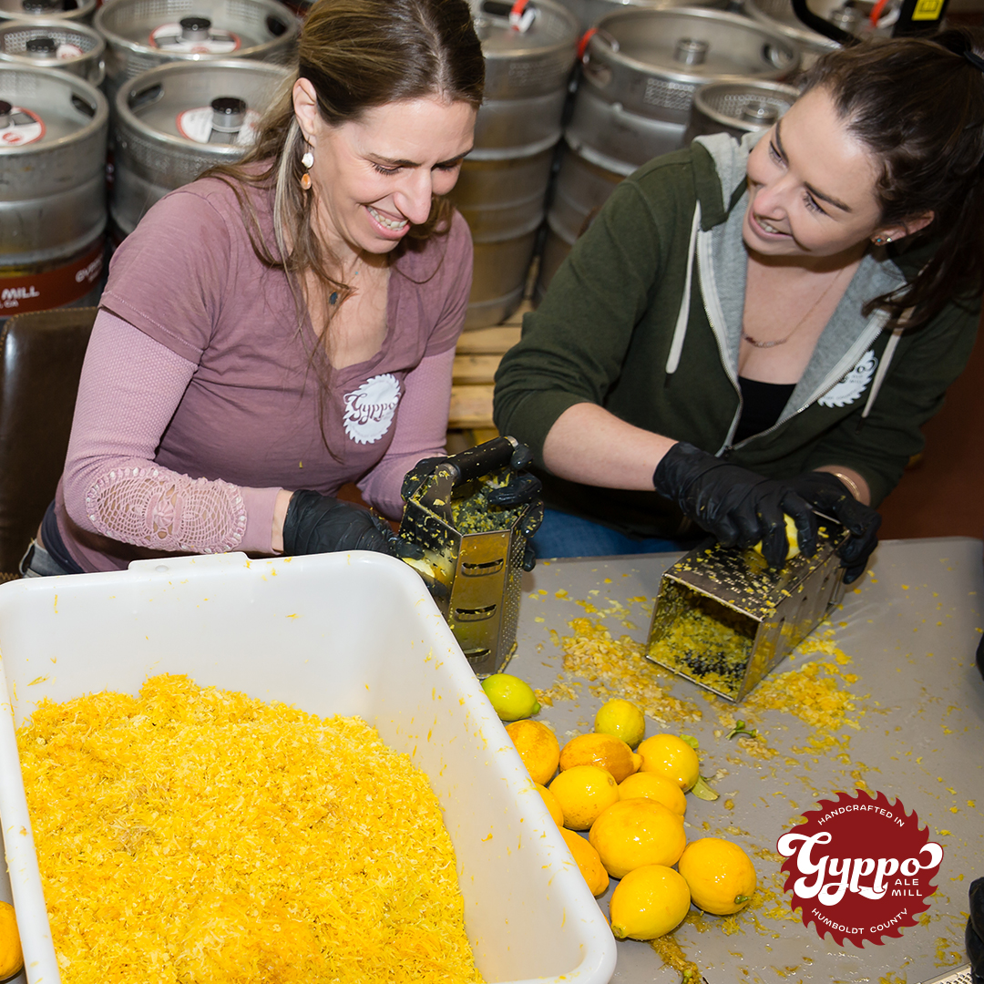 Kara & Angie zesting Shelter Cove lemons. 12 Pounds total went into SHE Beer!