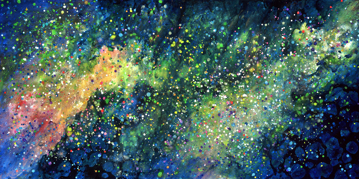 "The Light That Can Be Heard    In Sami language, the Northern Lights are called ""Guovssahas"", which translates to ""The Light that Can Be Heard"". Acrylic paint, ink, powdered pigments and resin make up this mixed media painting. Powdered pigments give the illusion the lights dance across the sky like moving sand."