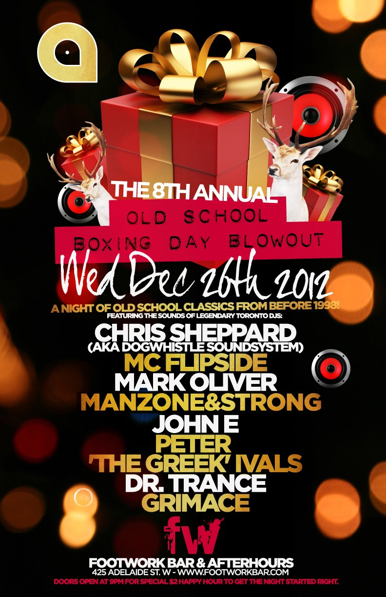 "Chris Sheppard, Mark Oliver, MC Flipside, Manzone & Strong, Peter ""The Greek"" Ivals, John E, Dr. Trance, Grimace footwork toronto"