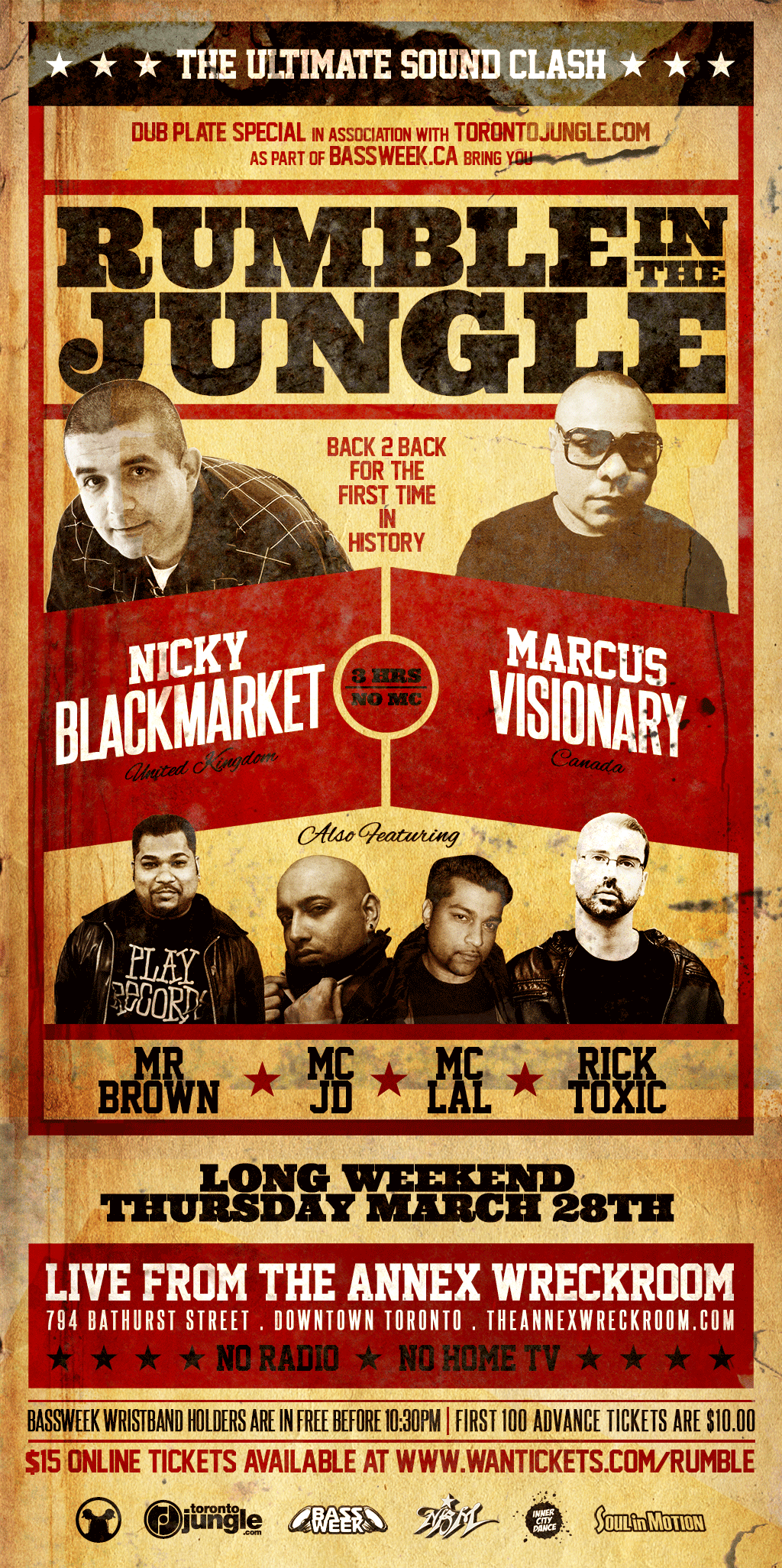 N  icky Blackmarket vs. Marcus Visionary (3 hour set), Rick Toxic, Mr. Brown, MC Lal & MC JD Annex Wreckroom Toronto