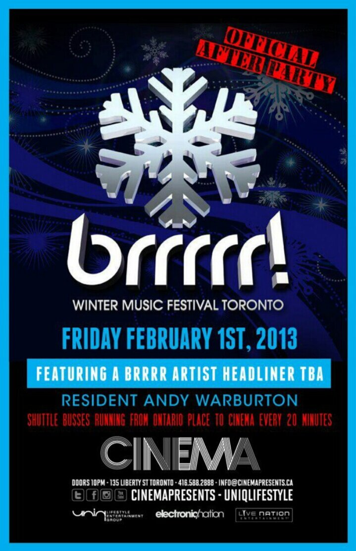 """  Brrrrr! Artist Headliner"" + Andy Warburton Cinema Toronto"