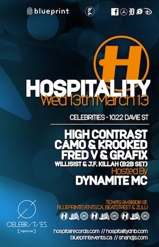 High Contrast, Camo + Krooked, Fred V, Grafix, Dynamite MC Celebrities Vancouver