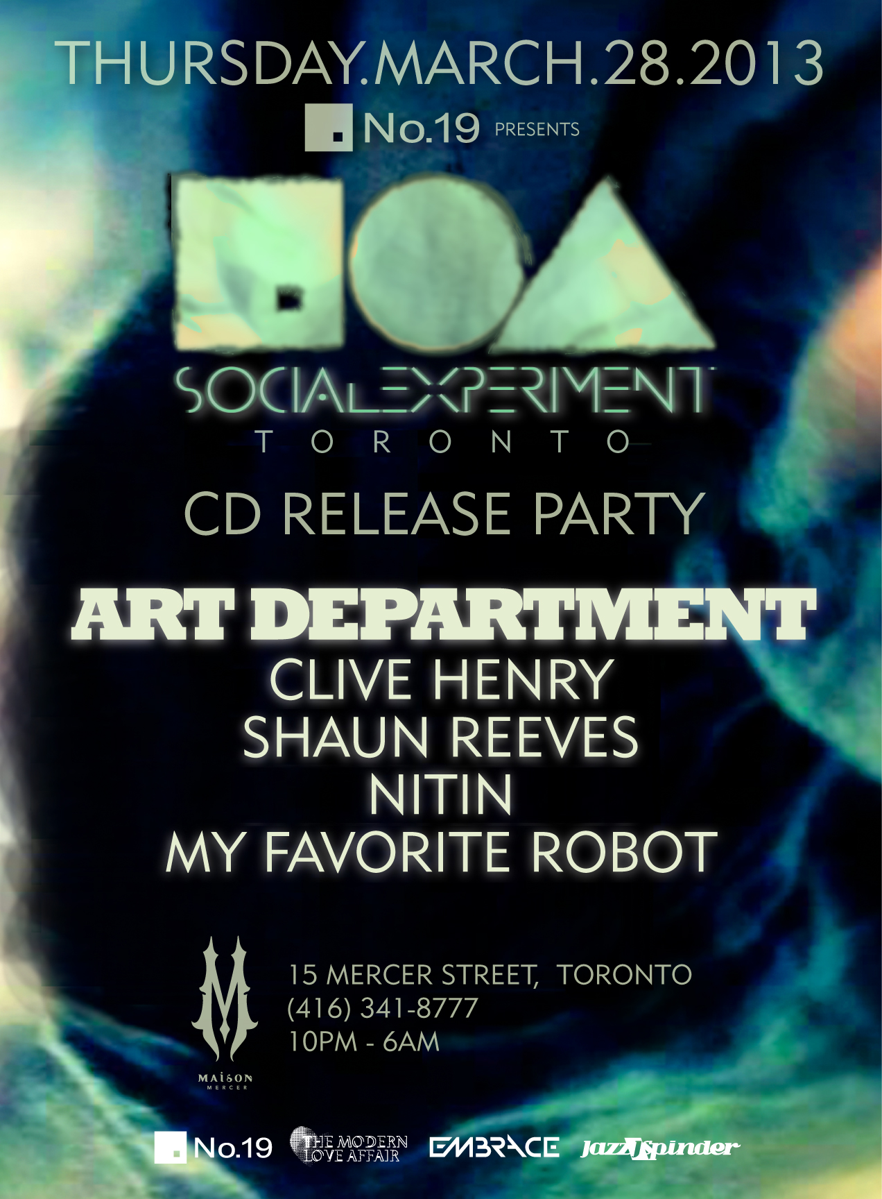 Art Department, Clive Henry, Shaun Reeves, Nitin, My Favourite Robot Maison Mercer Toronto