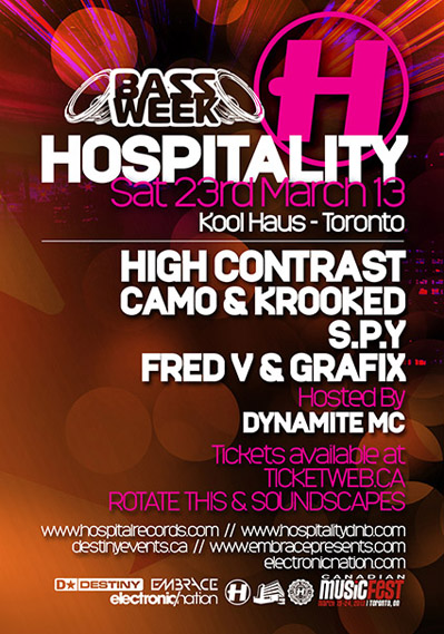 H  igh Contrast, Camo & Krooked, S.P.Y, Fred V & Grafix. Hosted by Dynamite MC Koolhaus Toronto