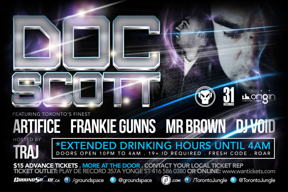 D  oc Scott, Frankie Gunns, Mr. Brown, DJ Void EDM events Annex Wreckroom Toronto