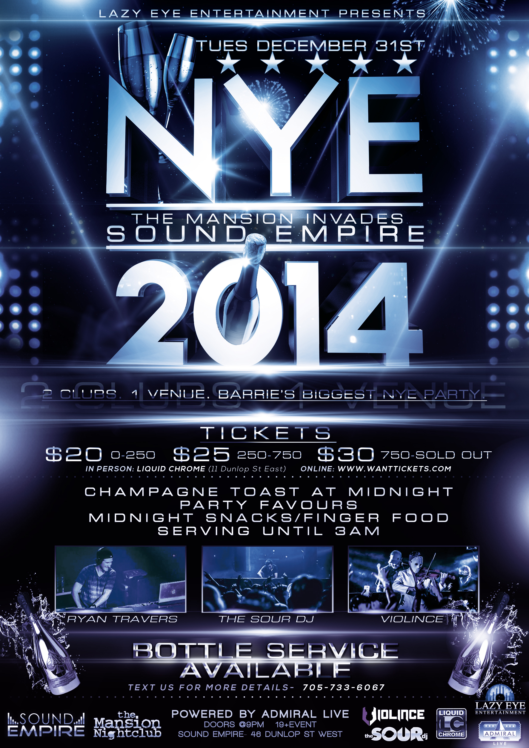 The Sour DJs, Ryan Travers,  Violince at Sound Empire for New Year's Eve in Barrie