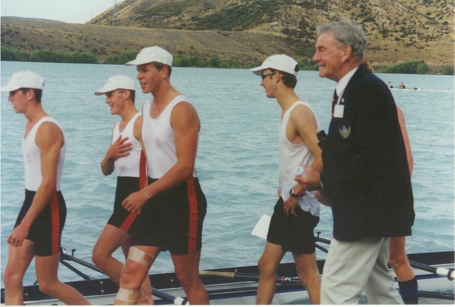 mens junior four first - 1st place 1999 - crew celebrations with patron evan mccalman.jpg