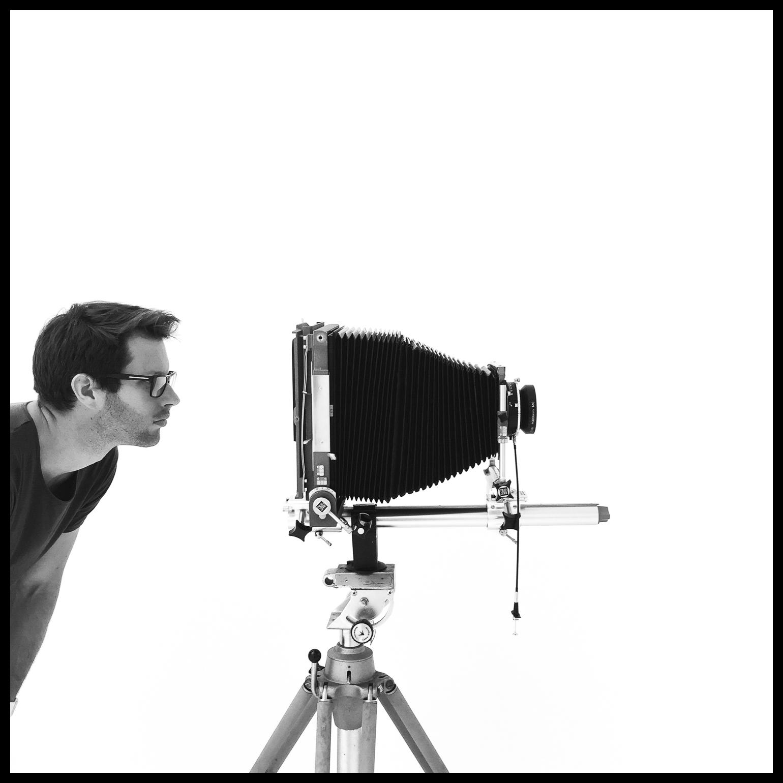 Hugo Sharp and his 8x10 film camera in St Leonards, Sydney