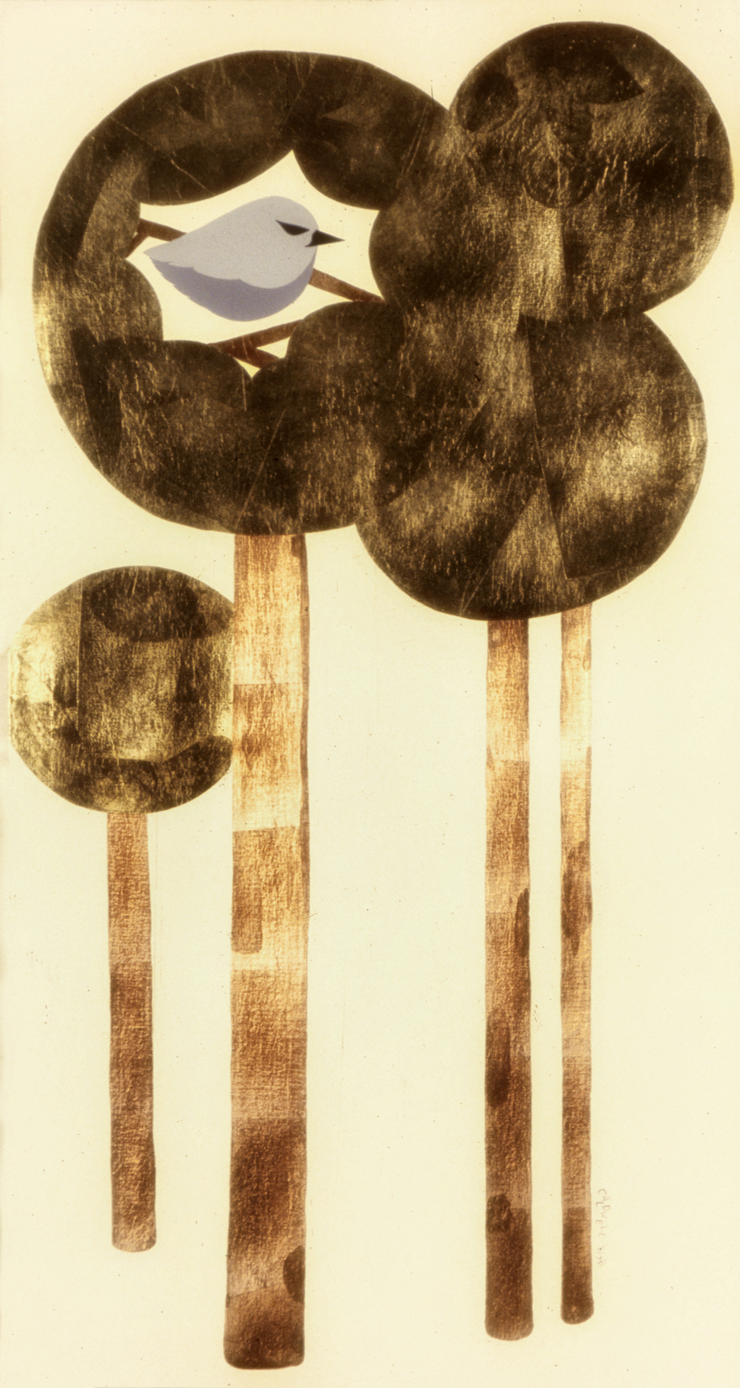 Songbird, 1977, Acrylic and Gold Foil on Canvas, 48 X 24 in.