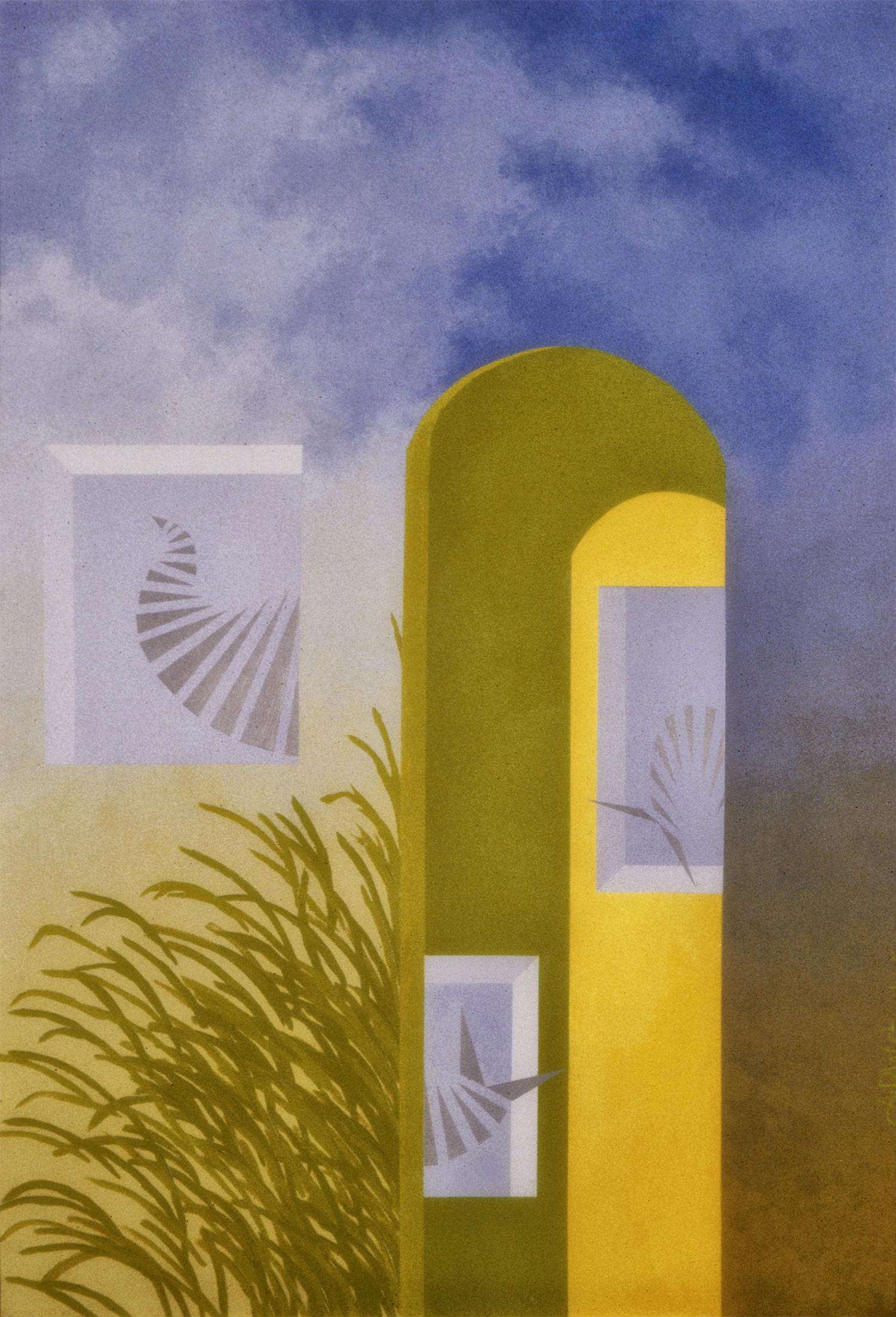 Futurist Landscape, 1979, Acrylic on Masonite, 36 X 24 in.