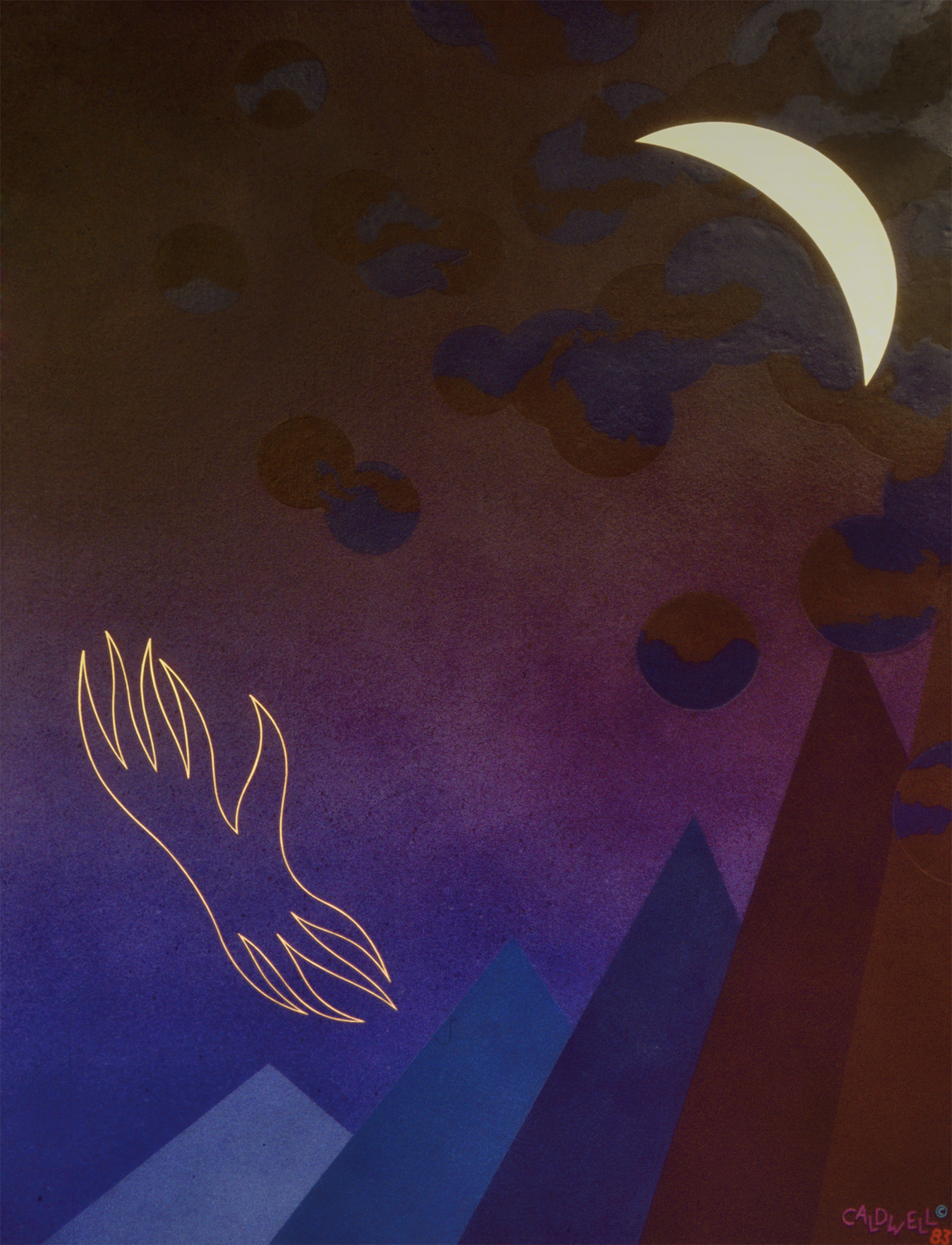 The Odyssey, (Triptych) Right Side, 1983, Acrylic on Masonite, 36 X 48 in.