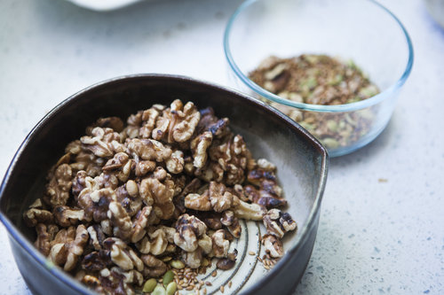 You can use different nuts in this dish, or add seeds like flax and pumpkin. I added the smaller seeds when the walnuts were almost don't since they are smaller, otherwise they would have burned!
