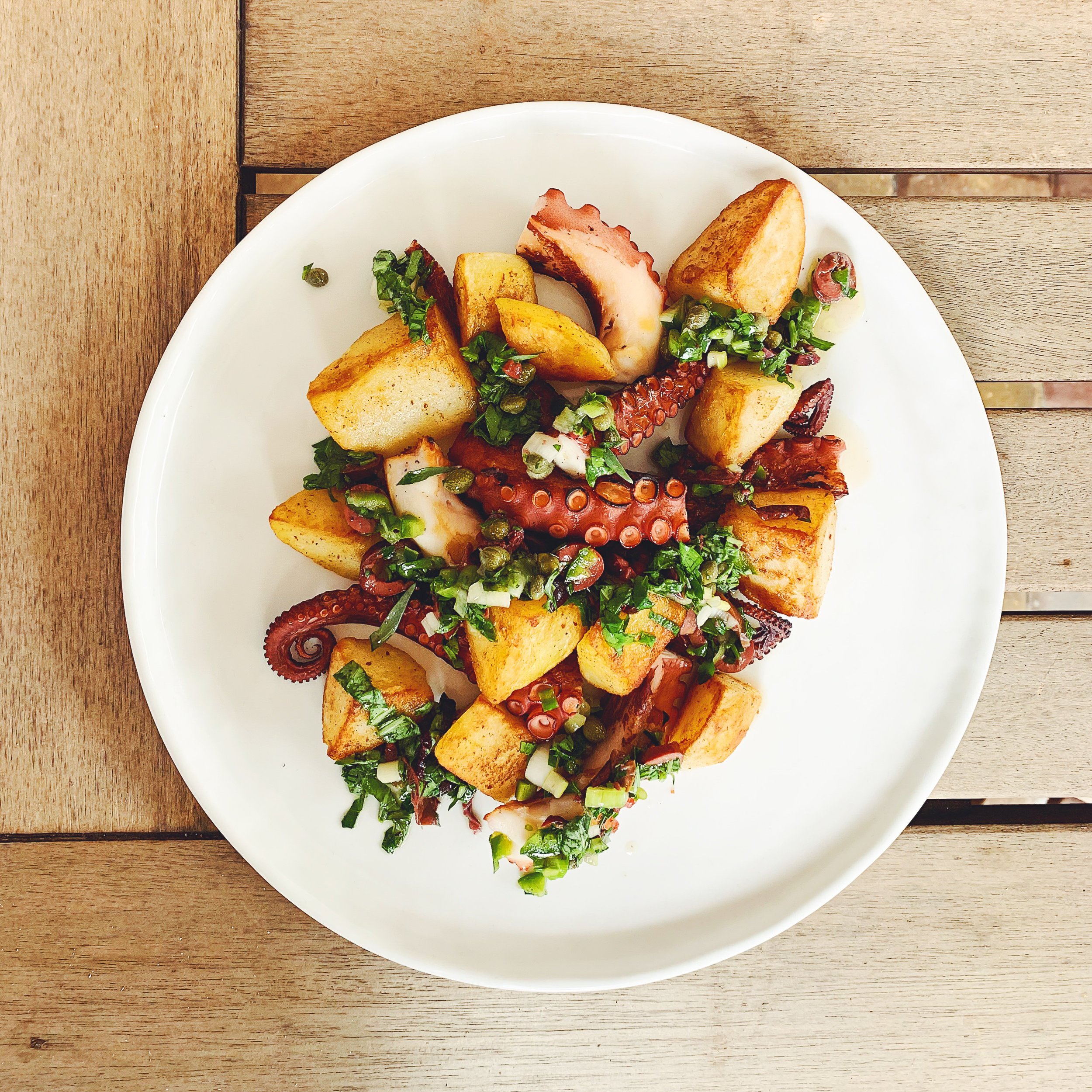 Octopus Potato Salad with Herb Condiment | RafaellaSargi.com