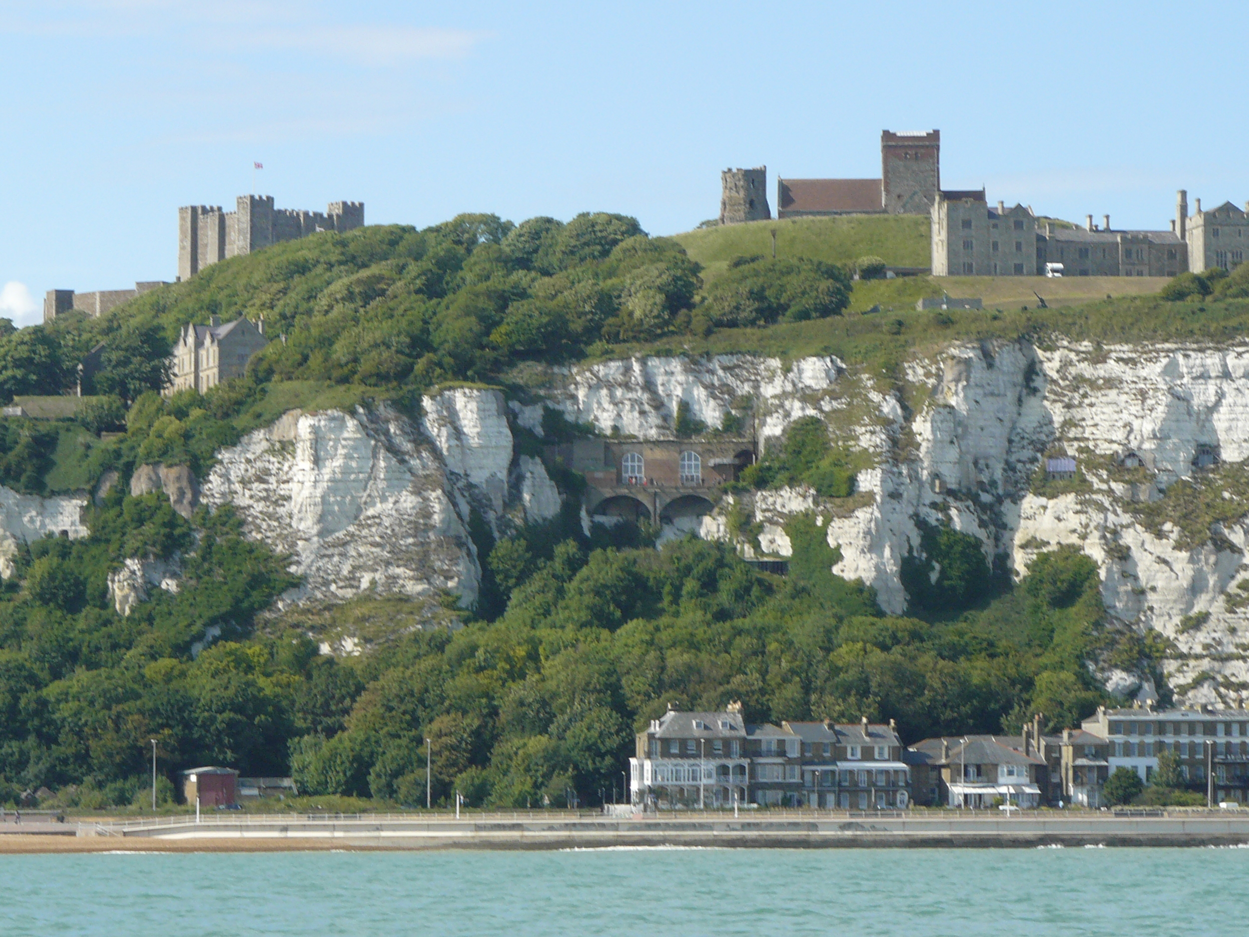 "Dover Castle from our boat ride to see the ""white cliffs"" from the water."