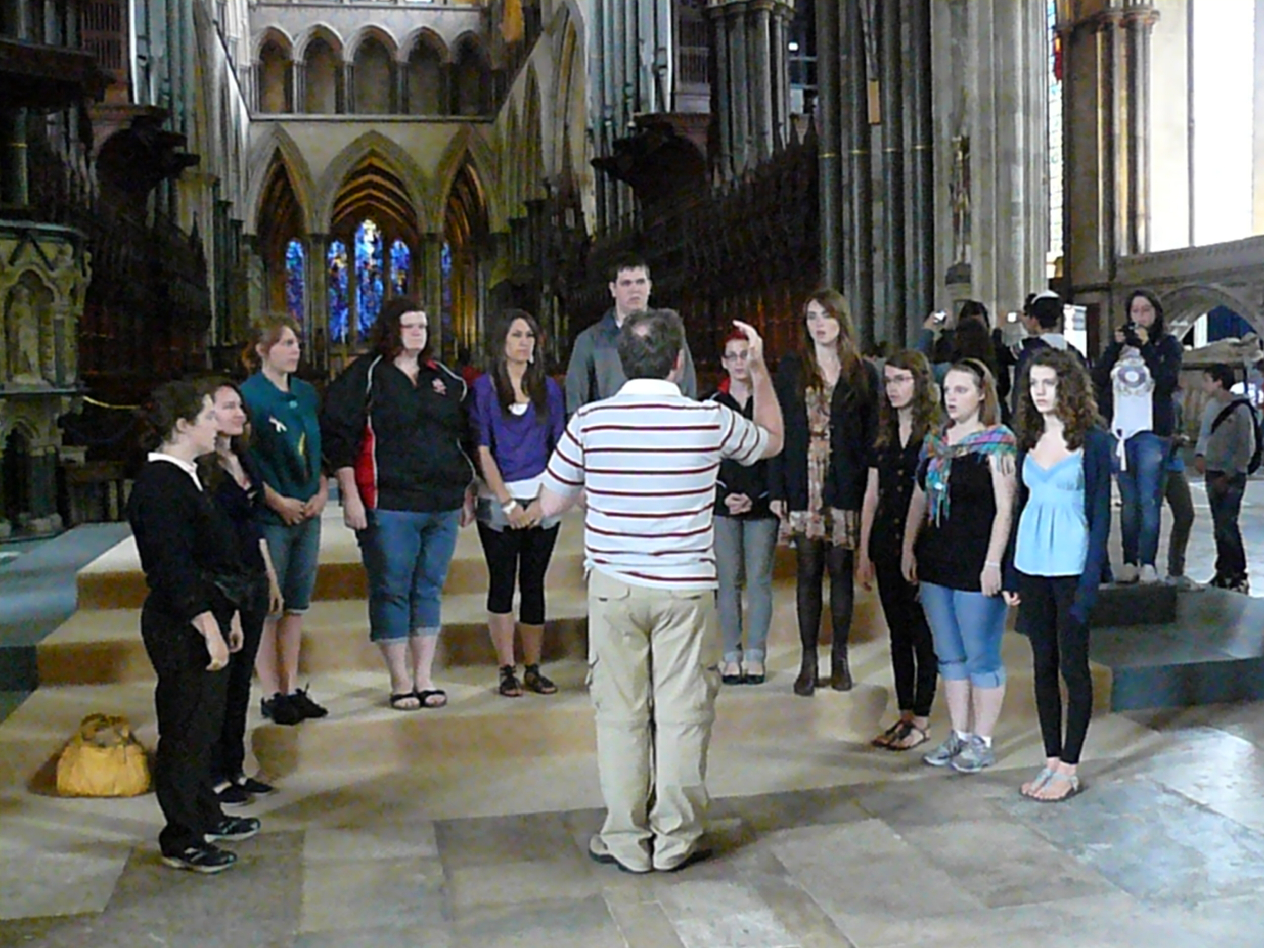 Impromptu performance at Salisbury Cathedral. (One of the priests heard that we were a choir from Canada!)