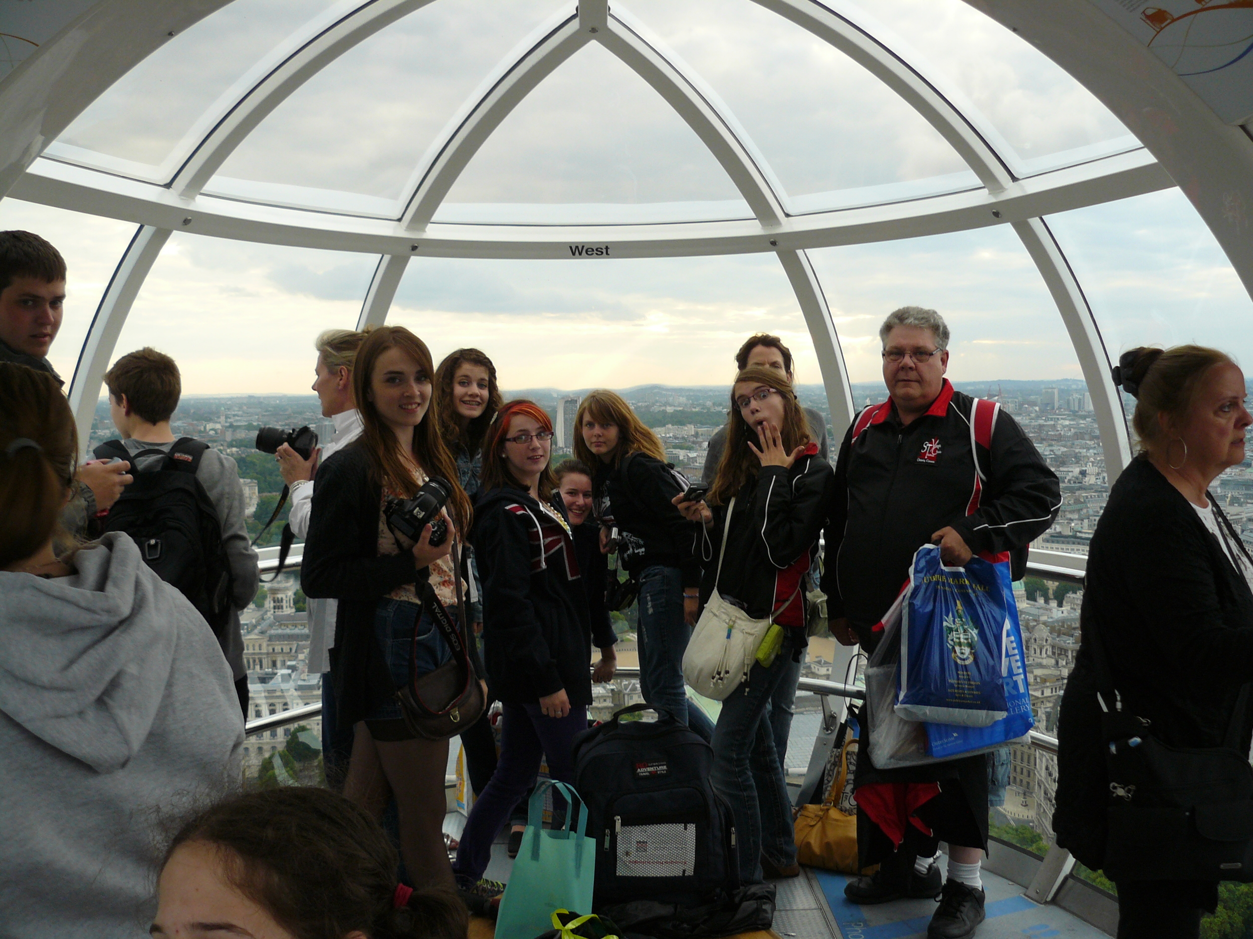 Riding on the London Eye. The largest ferriswheel in the world.