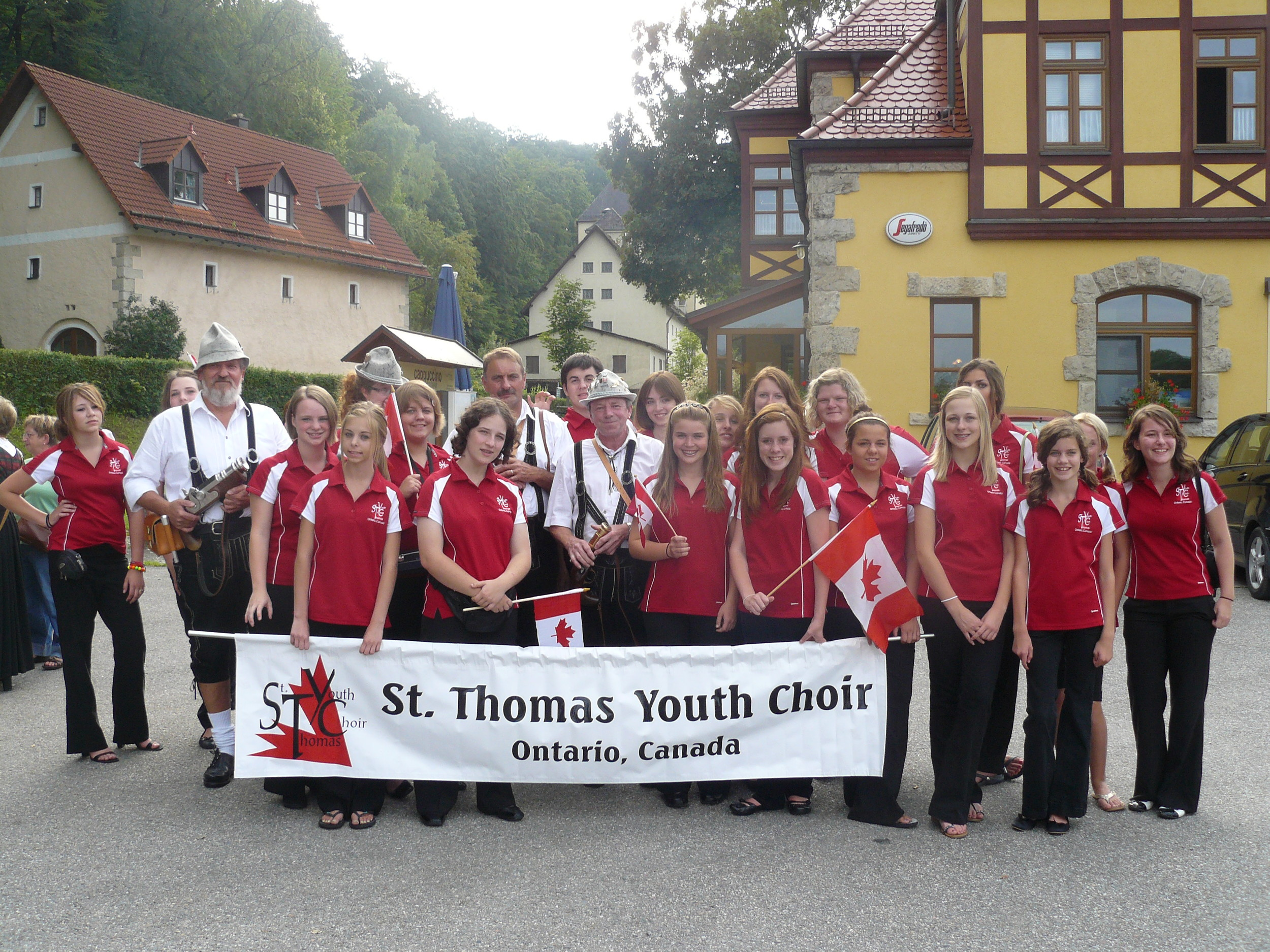 """Getting ready to march in the """"Burgerfest"""" parade in Amberg."""
