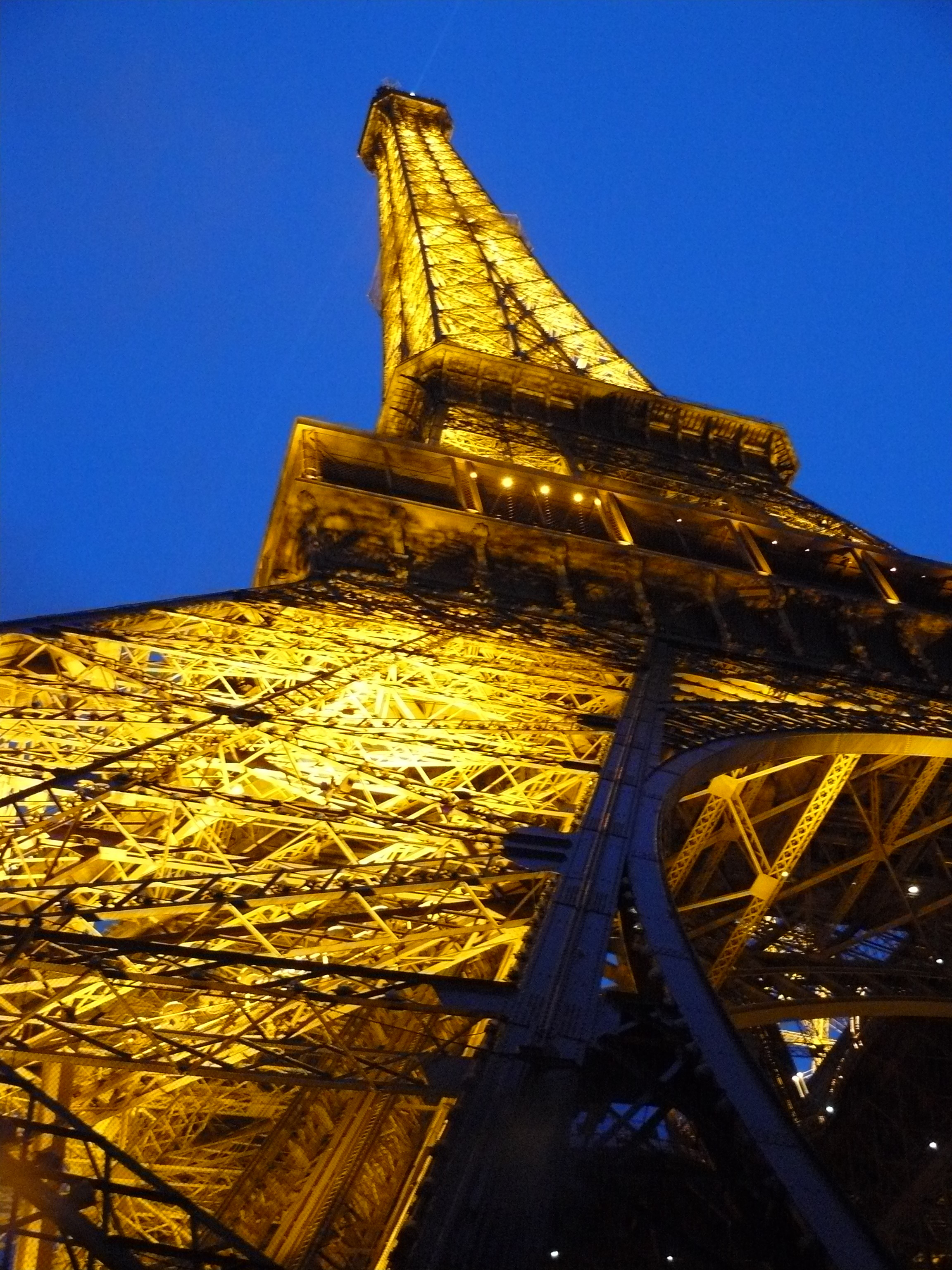 Back down from the Eiffel Tower at dusk.