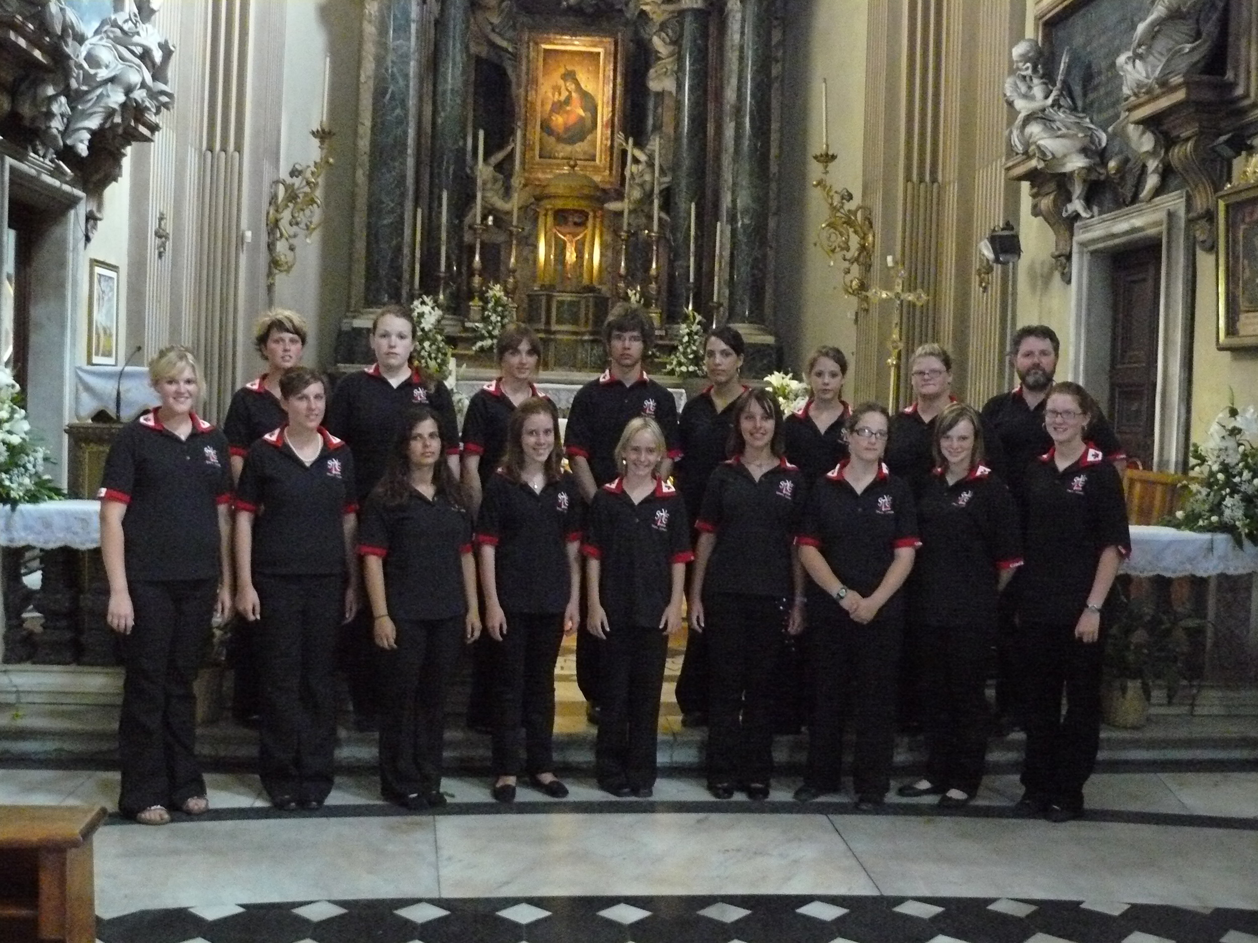 """Our final performance at Santa Maria dei Miracoli. This is one of the """"twin"""" churches on the  Piazza del Popolo where an Egyptian obelisk to Rameses II stands."""