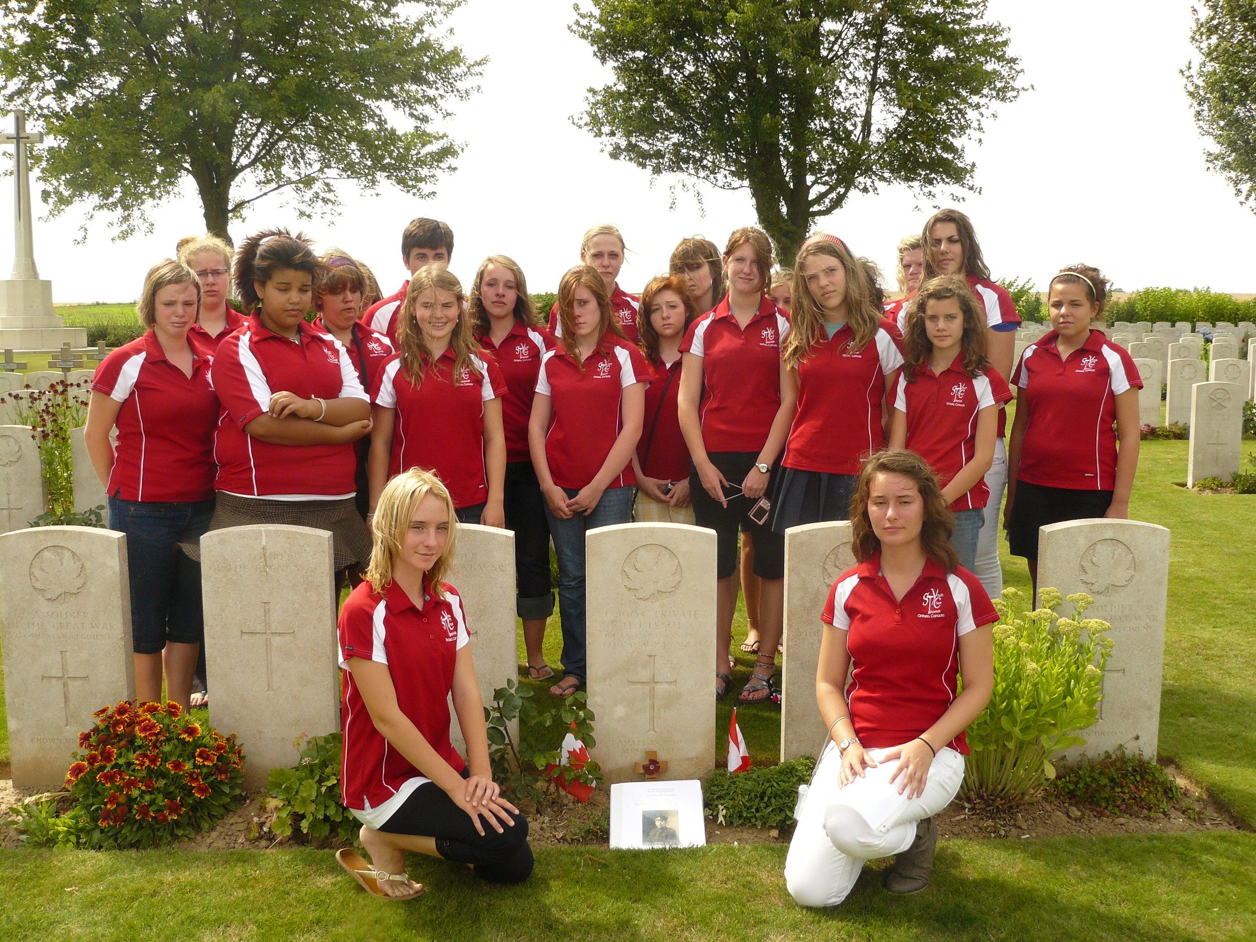 Gathered at the grave of a St. Thomas, Ontario solder near Vimy Ridge.