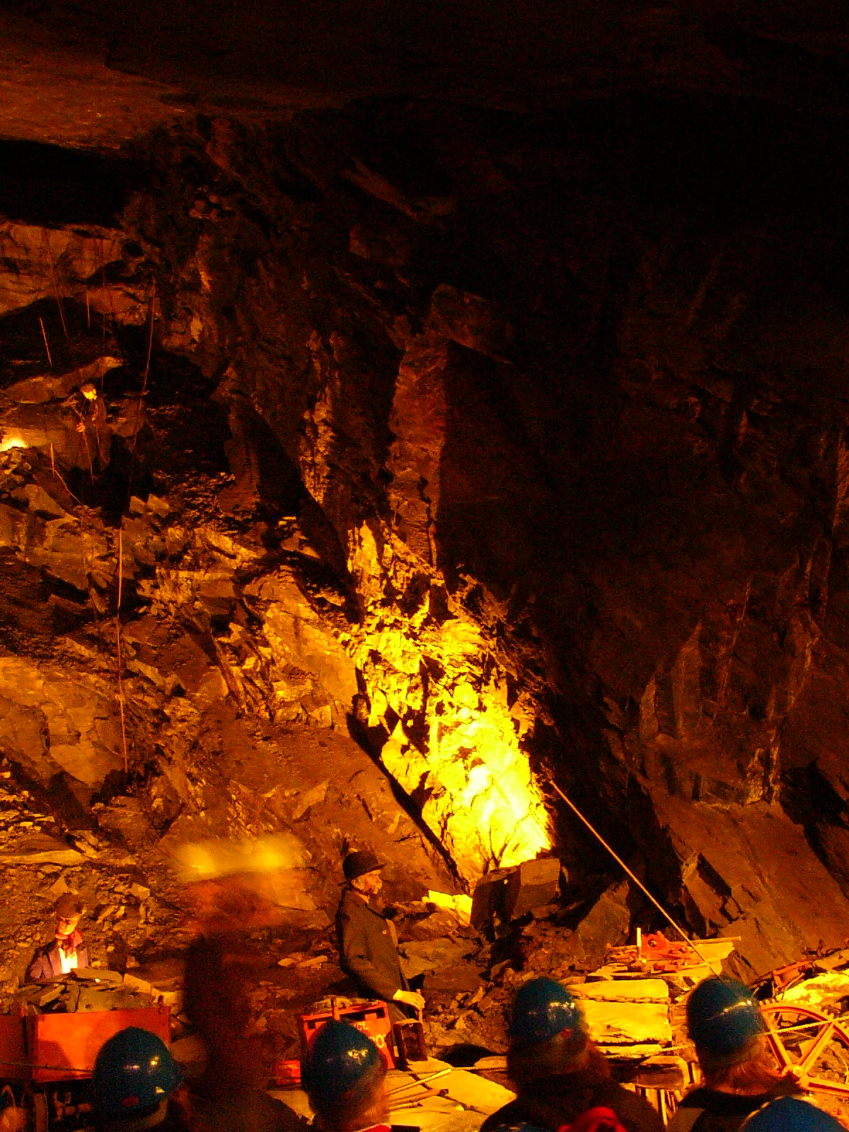 Well underground on a deep mine tour in northern Wales.