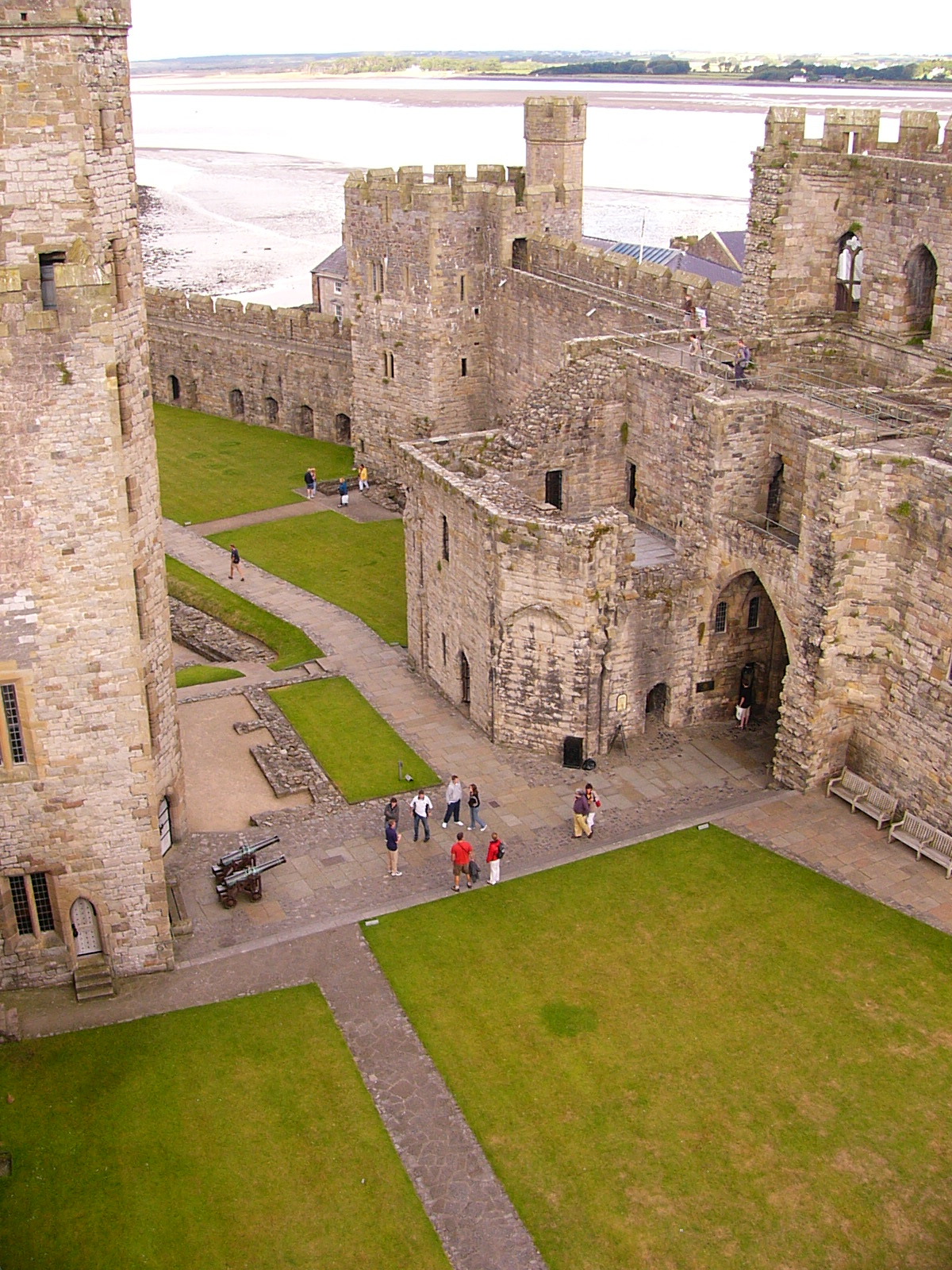 A view of Caernarfon Castle from one of its towers in northern Wales.