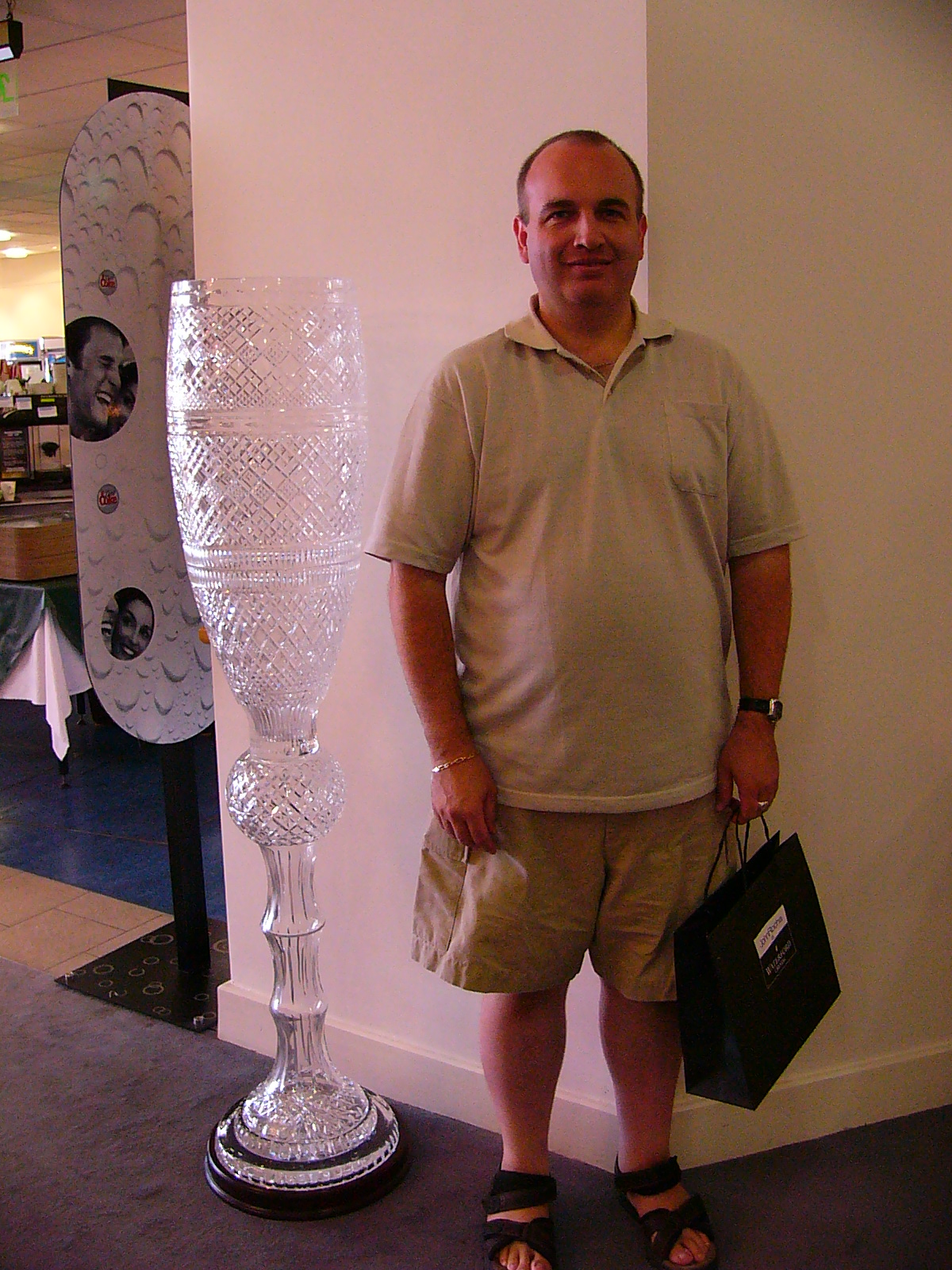 Graham, our accompanist, standing with what looks suspiciously like a very large champagne glass.