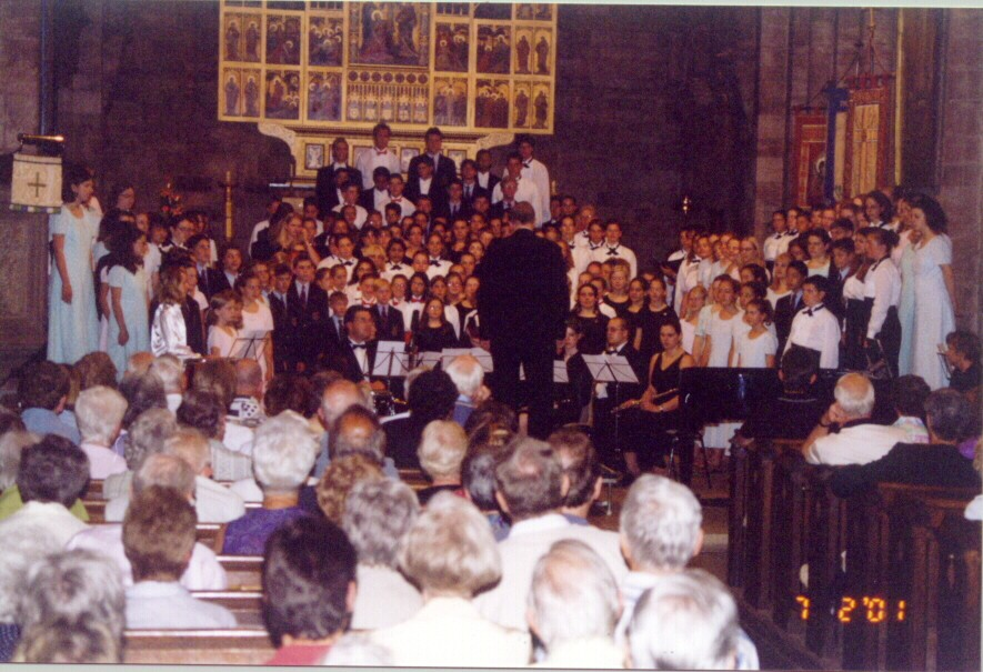 The massed choirs performing in Shrewsbury Abbey.