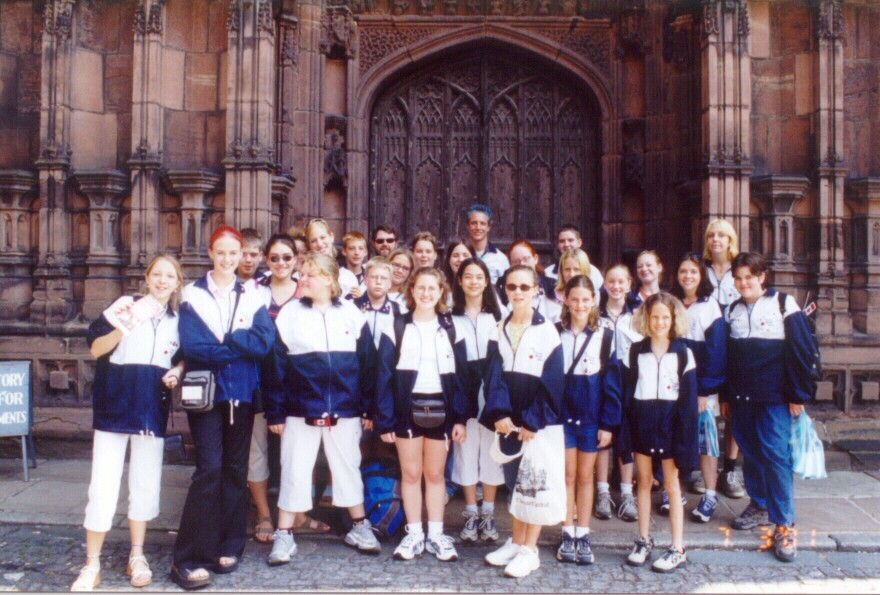 The choir at the main doors of Chester Cathedral after their performance.