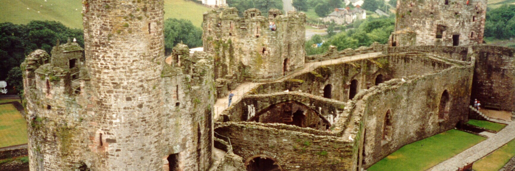 The ruins of Conwy Castle on the north shore of Wales.